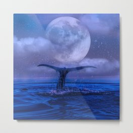 WHALE SWIMMING WITH FULL MOON Metal Print