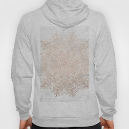 Mandala - rose gold and white marble 4 Hoody