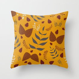 Autumn leaves and acorns - ochre and brown Throw Pillow