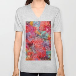 Dayton map Ohio painting 2 Unisex V-Neck