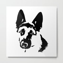 German Shepherd dog black white Metal Print