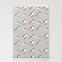 gray pattern Stationery Cards featuring Bird Pattern Gray by Tammy Kushnir