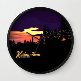 Kailua Kona Hawaii Sunset  Wall Clock