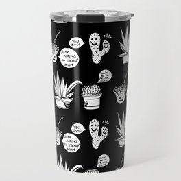 Cacti Chronicles - Black and White Comic Illustration Cactus Pattern Travel Mug