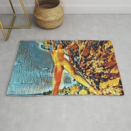 3585s-HS Lake Superior Nude Woman on Rocky Shore Impressionistic Rendering Rug