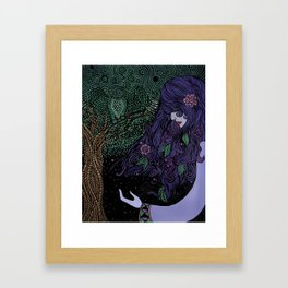 Purpled Haired Girl Framed Art Print