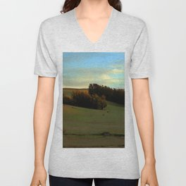 Last Moments of Sunset Glow, Sonoma County Hills Unisex V-Neck