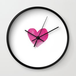 Minimalist Watercolour heart- hot pink #heart #society6 Wall Clock