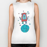 spaceman Biker Tanks featuring spaceman by PINT GRAPHICS