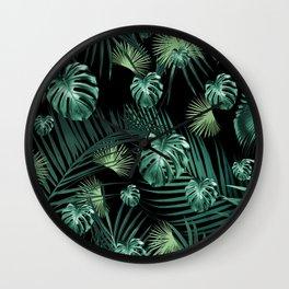 Tropical Jungle Night Leaves Garden #1 #tropical #decor #art #society6 Wall Clock