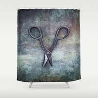 tool Shower Curtains featuring Old Scissors II by Maria Heyens
