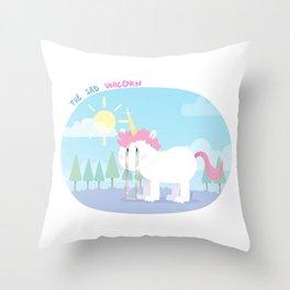 The sad unicorn Throw Pillow