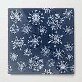 Snowflakes (navy blue) Metal Print