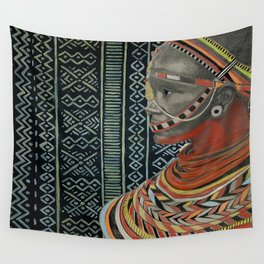 The Red Beads/mud cloth background Wall Tapestry