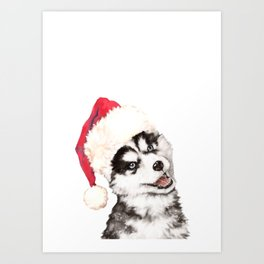 Christmas Baby Husky Art Print