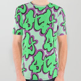 Stay Graffiti Pattern - Slime Green All Over Graphic Tee