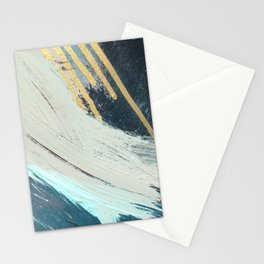 Karma: a bold abstract in blues and gold Stationery Cards