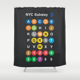 New York City subway alphabet map, NYC, lettering illustration, dark version, usa typography Shower Curtain
