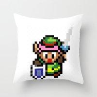 the legend of zelda Throw Pillows featuring Legend of Zelda - Link by Nerd Stuff