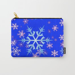 DECORATIVE BLUE  & WHITE SNOWFLAKES PATTERNED ART Carry-All Pouch