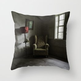 Waiting room, abandoned manor Throw Pillow