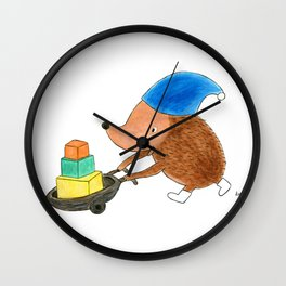 Little Hedgehog Going to His Best Friend's Birthday Party - Children's Illustration Wall Clock