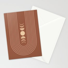 Moon Phases in Terracotta and Beige 4 Stationery Cards