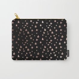 Black & Rose Gold Star Pattern Carry-All Pouch