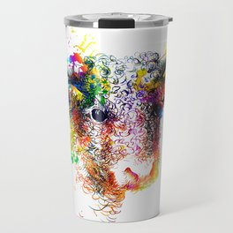 Hand drawn bull, cow, bison, buffalo head face portrait with horns. Colorful cattle painting sketch Travel Mug