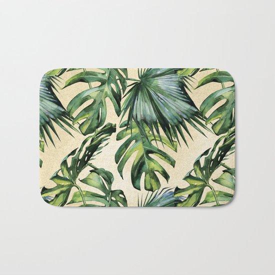 Palm Leaves Greenery Linen Bath Mat