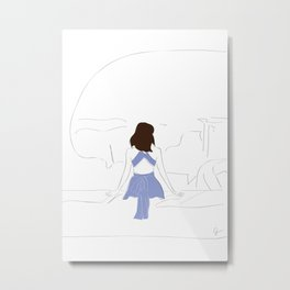 Santorini Wanderlust Fashion Girl Metal Print