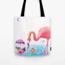 Flamingo Print - Ice-cream Party Tote Bag