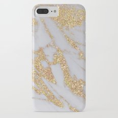 Marble - Gold Glitter over Rose Gold and White Marble iPhone 7 Plus Slim Case