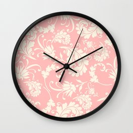 Vintage pink ivory chic floral damask pattern Wall Clock