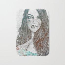 U-Turn: Rainbow (mandala tattooed woman, drawing portrait) Bath Mat