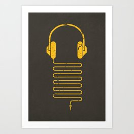 Gold Headphones Art Print