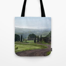 Panoramic view of Val d'Orcia, Tuscany, Italy Tote Bag