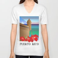 puerto rico V-neck T-shirts featuring Puerto Rico by PADMA DESIGNS PR