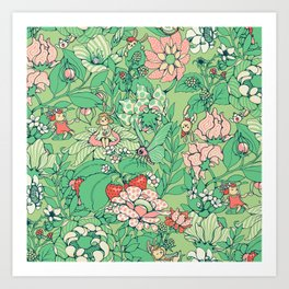 Garden party - sage tea version Art Print