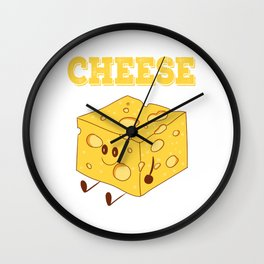Funny Cheese T-Shirt for people who are addicted to cheese Gouda Buttercheese yellow  Wall Clock