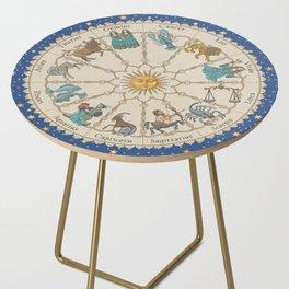 Vintage Astrology Zodiac Wheel Side Table