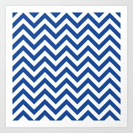 Cobalt Blue Chevrons Pattern Art Print