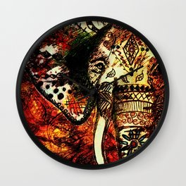 Patterned Sketched Elephant Wall Clock