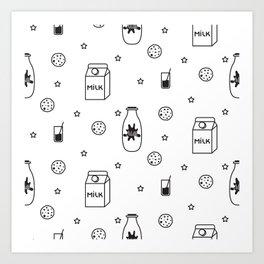 Doodle milk star cookies pattern Art Print