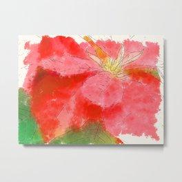 Mottled Red Poinsettia 1 Ephemeral Serene Metal Print