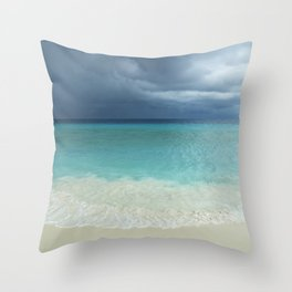 Tropical beach and strom clouds on Little Curaçao, Netherlands Antilles Throw Pillow