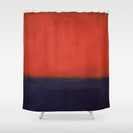 Plain color Blue black and red art print Shower Curtain