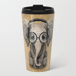 Cute Baby Elephant Dj Wearing Headphones and Glasses Travel Mug