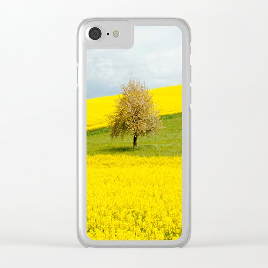 Tree in Yellow Field Clear iPhone Case