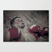 boxing Canvas Prints featuring boxing by aaron ebanks